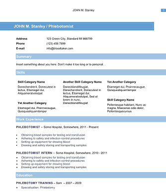Phlebotomy Resume Blue  Sample Phlebotomist Resume