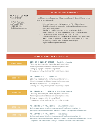 phlebotomy resume collors phlebotomy resume