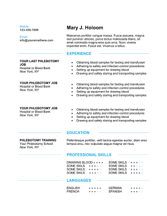 phlebotomy resume modern blue