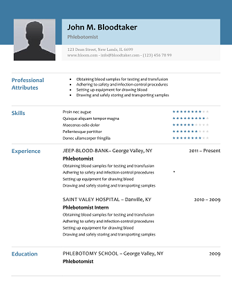 Phlebotomy Resume Picture  Phlebotomist Resume Sample