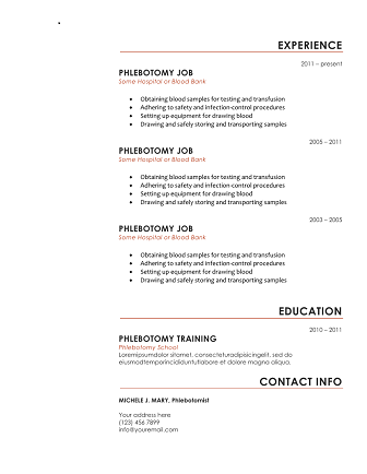 Phlebotomy Resume Red Start  Phlebotomy Technician Resume