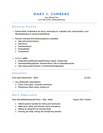 download 10 professional phlebotomy resumes templates free