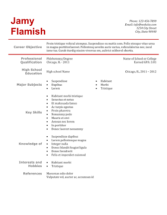 phlebotomy resume simple red clean